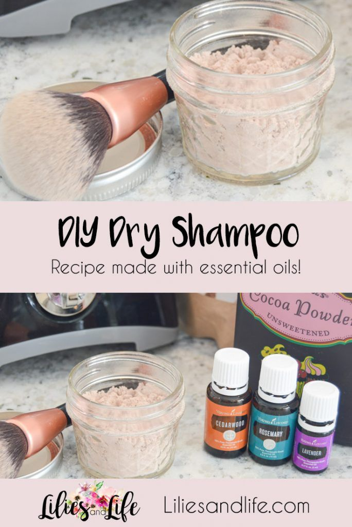 DIY Dry Shampoo Recipe made with essential oils arrow root powder and cocoa powder