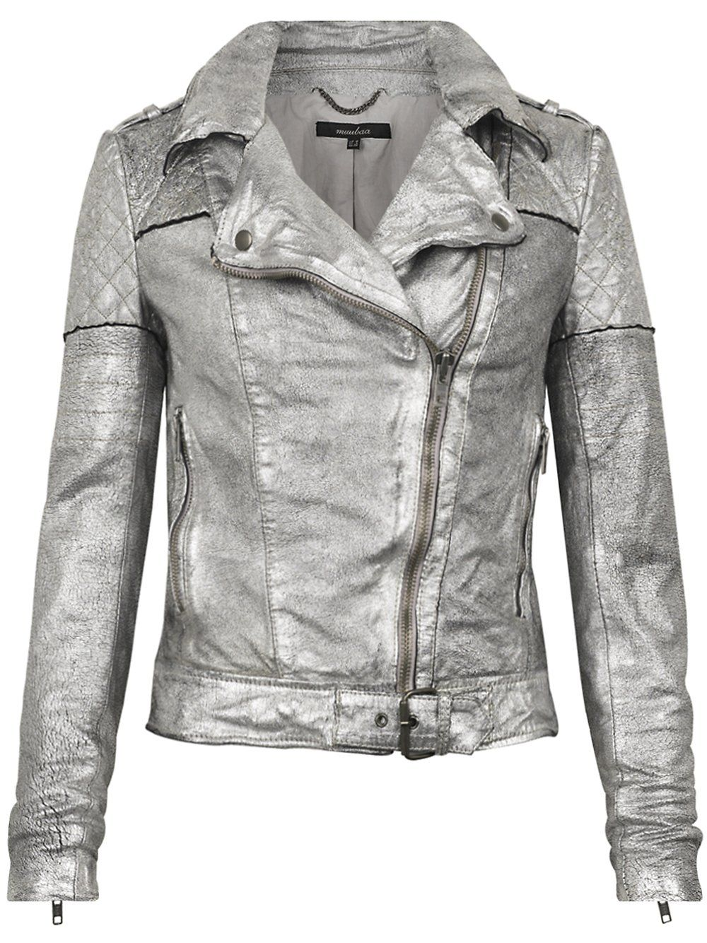 Minsk Suede Quilted Biker In Silver Muubaa Leather Jacket Silver Leather Jacket Clothes [ 1334 x 1000 Pixel ]