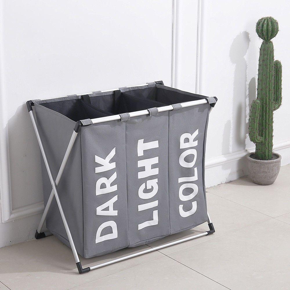 3 Section Laundry Sorter Hamper Clothes Storage Basket Bin