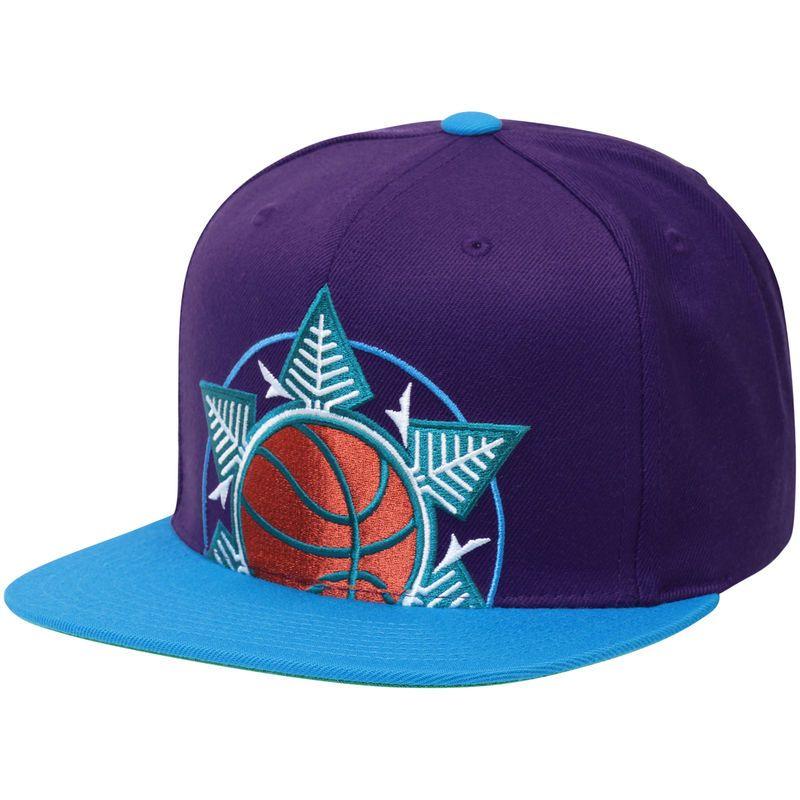 Utah Jazz Mitchell Ness Cropped Xl Logo Snapback Adjustable Hat Purple Utah Jazz Adjustable Hat Mitchell Ness
