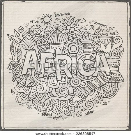 Africa hand lettering and doodles elements background. Vector illustration - stock vector