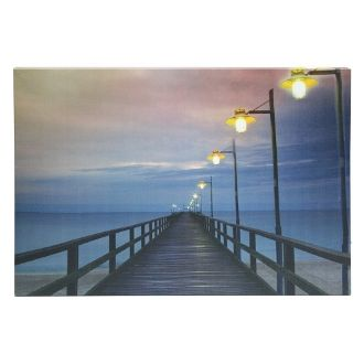 Led Lit Wall Canvas Dock With Lamps Wall Art Lighting Lighted Canvas Wall Canvas