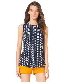 MICHAEL Michael Kors  Pleated-Front Dotted Top