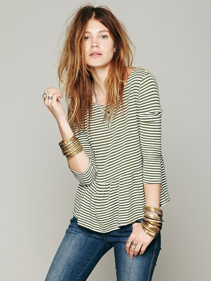 Project Social T We The Free In A Line Peplum Tee at Free People Clothing Boutique