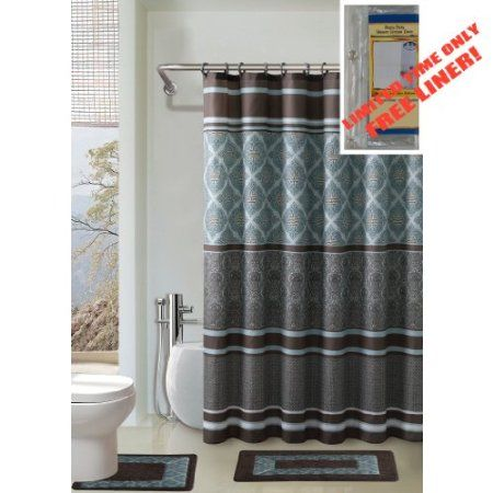 Amazon Com Brown And Blue 4 Piece Bathroom Set 2 Rugs Mats 1