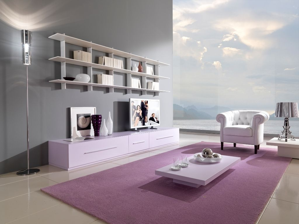 Wonderful Purple And Gray Room With Picture Of Set On Gallery