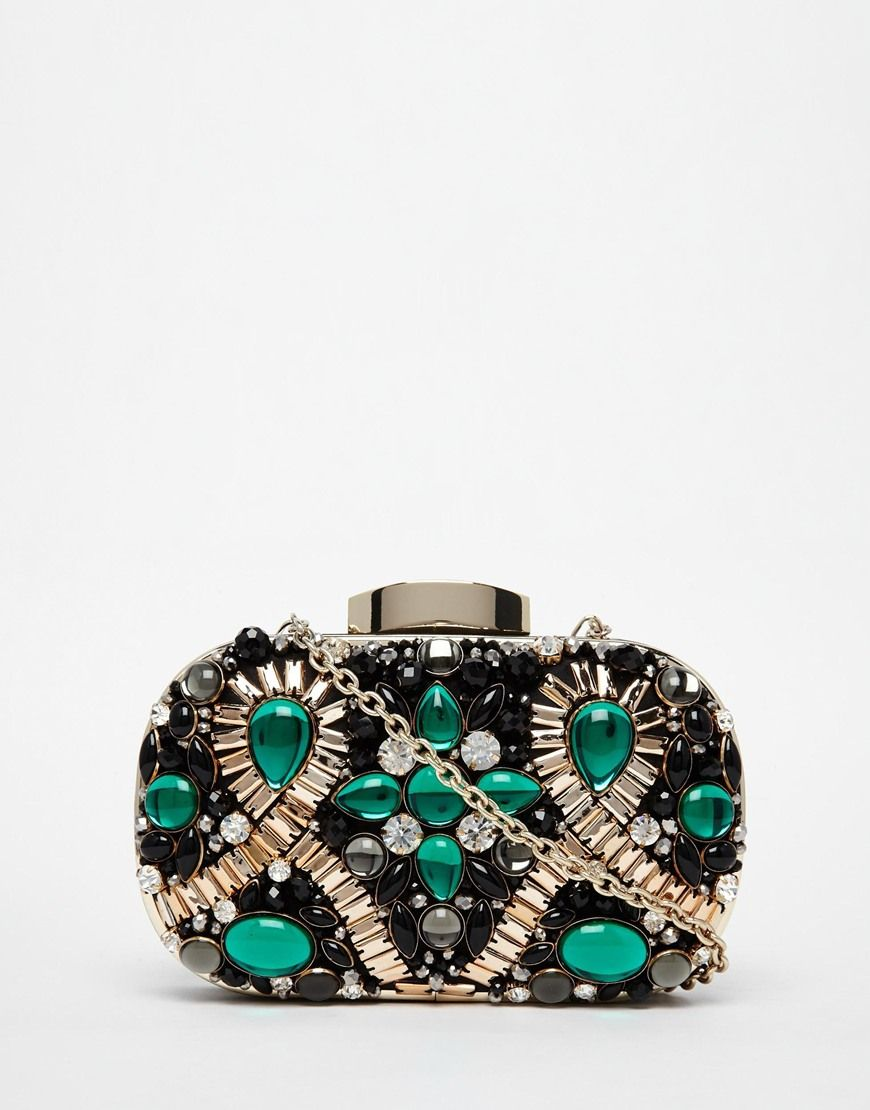 3607a85198 ALDO Box Clutch With Emerald Green Embellishment. ALDO Box Clutch With  Emerald Green Embellishment Ladies Purse Online, Beaded Purses, Evening Bags