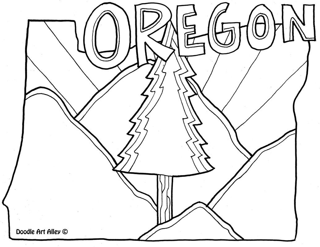 Oregon Coloring Page By Doodle Art Alley Usa Coloring Pages