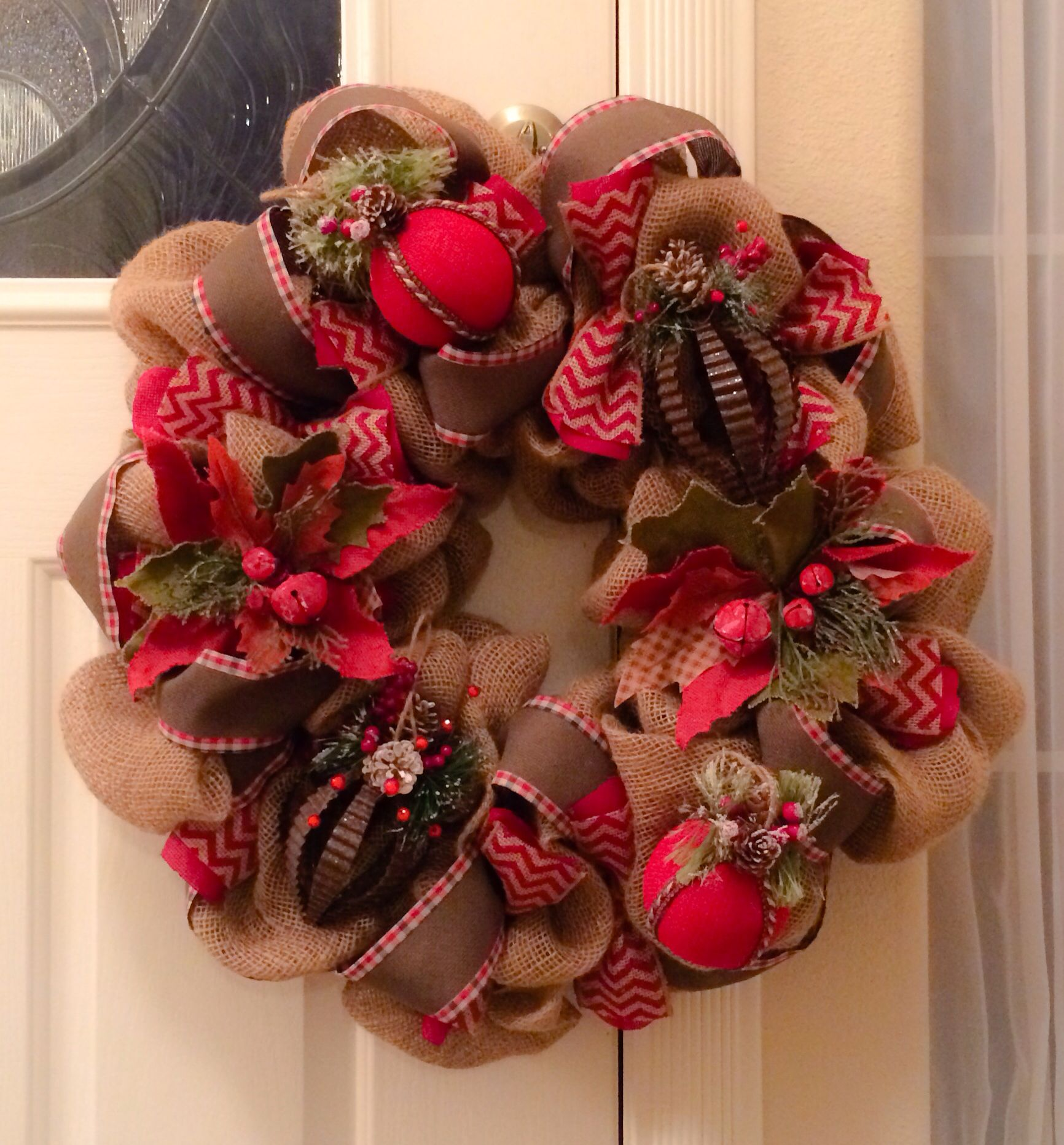Burlap Wreath With Lights Of Burlap Vintage Christmas Wreath My Creations Pinterest