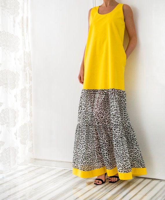 Yellow Cotton Maxi Dress Plus size dress by cherryblossomsdress ...