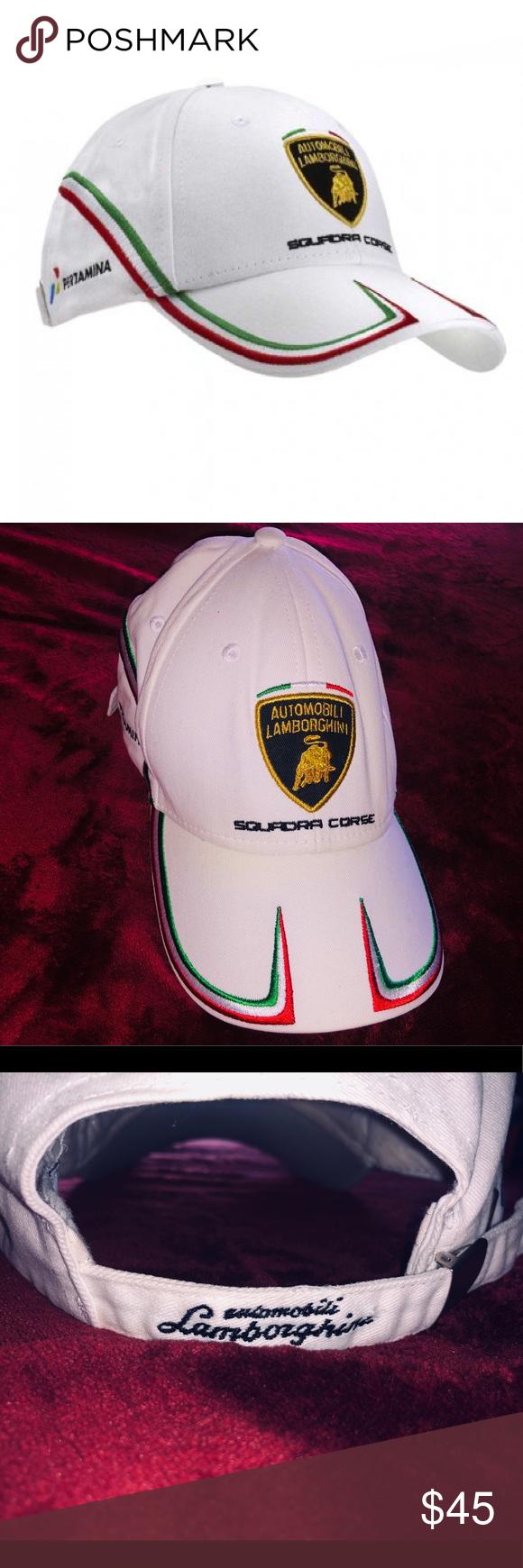 Lamborghini Squadra Corse Hat White, with red white and green stripes embroidered on the hat. Authentic automobili Lamborghini product. 100% cotton. Currently sold out on Amazon. Lamborghini Accessories Hats