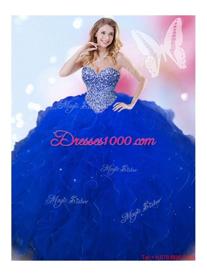 4b93488d52c8a Modest Puffy Skirt Beaded and Ruffled Sweet 16 Dress in Royal Blue ...