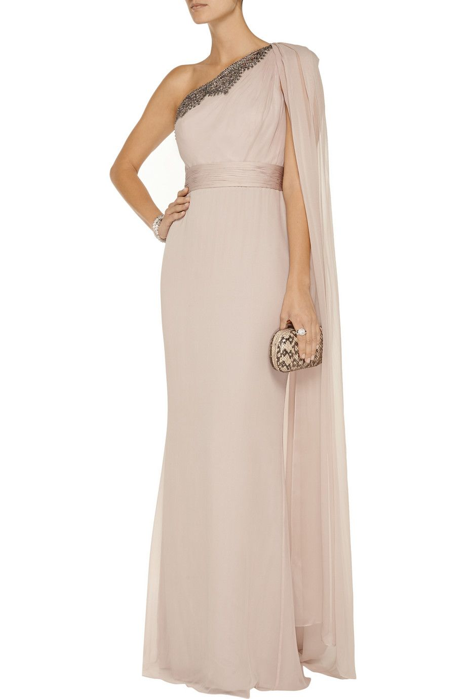 Notte by MarchesaEmbellished washed-silk gown