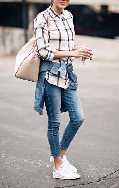 shirt denim slim jeans skinny jeans nude bag stan smith denim jacket outfit street style summer idea checkered tartan