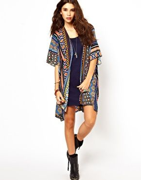 Enlarge Band Of Gypsies Long Kimono Jacket In Mexican Aztec Print ...