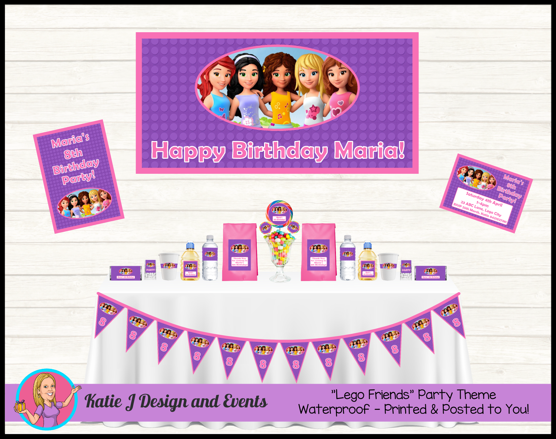 Personalised Lego Friends Birthday Party Decorations Lego Friends Birthday Party Lego Friends Party Lego Friends Birthday