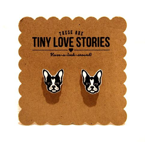 This Is A Tiny Love Story For Boston Terrier Puppies So Cute Wear Em These Earrings Are Hand Cut The Made Of Hard Durable Plastic