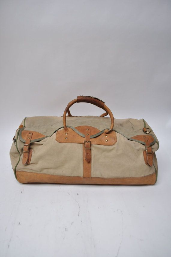vintage duffle bag leather GOKEY orvis canvas by goodbyeheart ... 65d13030aa