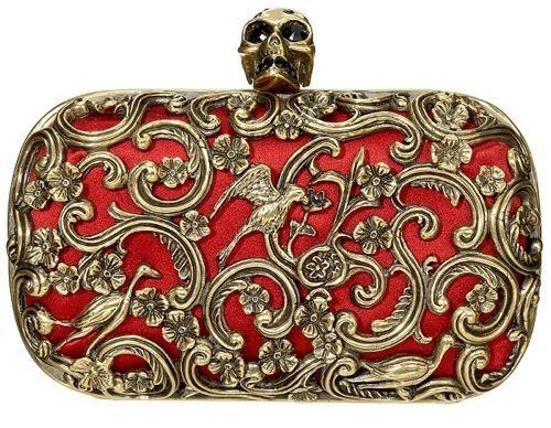 alexander mcqueen ornate skull clutch