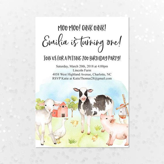 Printable Personalized Birthday Invitation Country Farm Animals