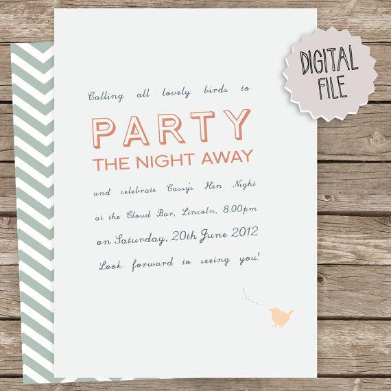 Hi Bird DIY hen party invitation blue peach by LauraNextDoor – Hen Party Invitation