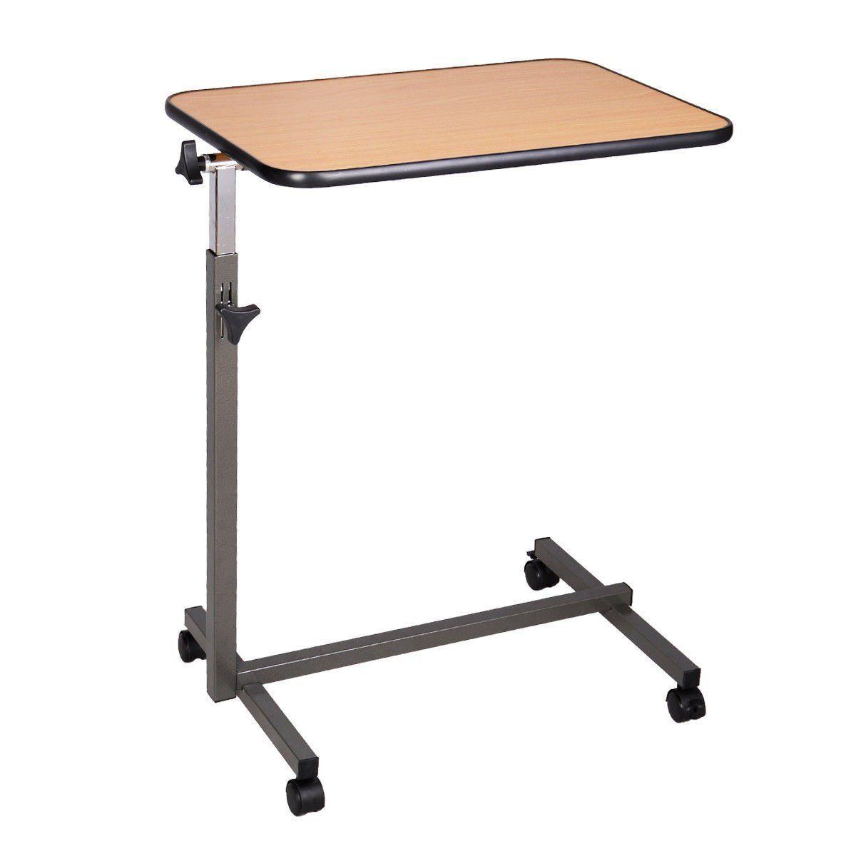 Overbed table food tray non tilt top bed hospital adjustable rolling - Super Buy Overbed Rolling Table Over Bed Laptop Food Tray Hospital Desk With Tilting Top