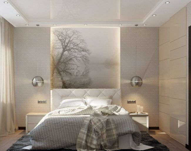 kleine-schlafzimmer-modern-gestaltet-beige-weiss-beleuchtung - schlafzimmer beige wei modern design