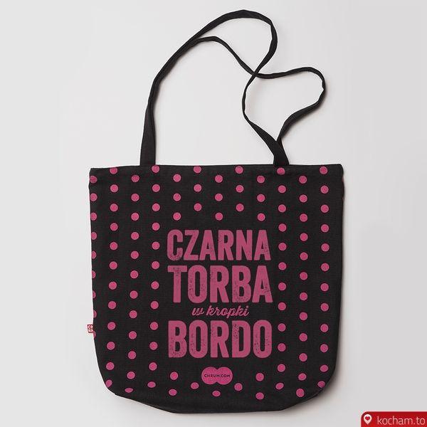 089b2458cc913 Kocham.to - Czarna Torba w Kropki Bordo