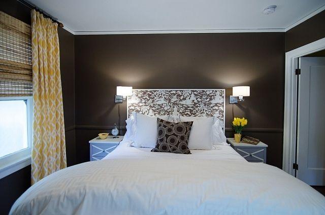 ideen für farbkontraste -schwarze schlafzimmerwand lässt den raum, Deko ideen