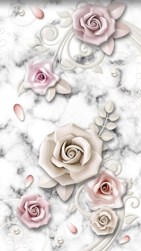 Retro marble flowers wallpaper – Galaxy Store