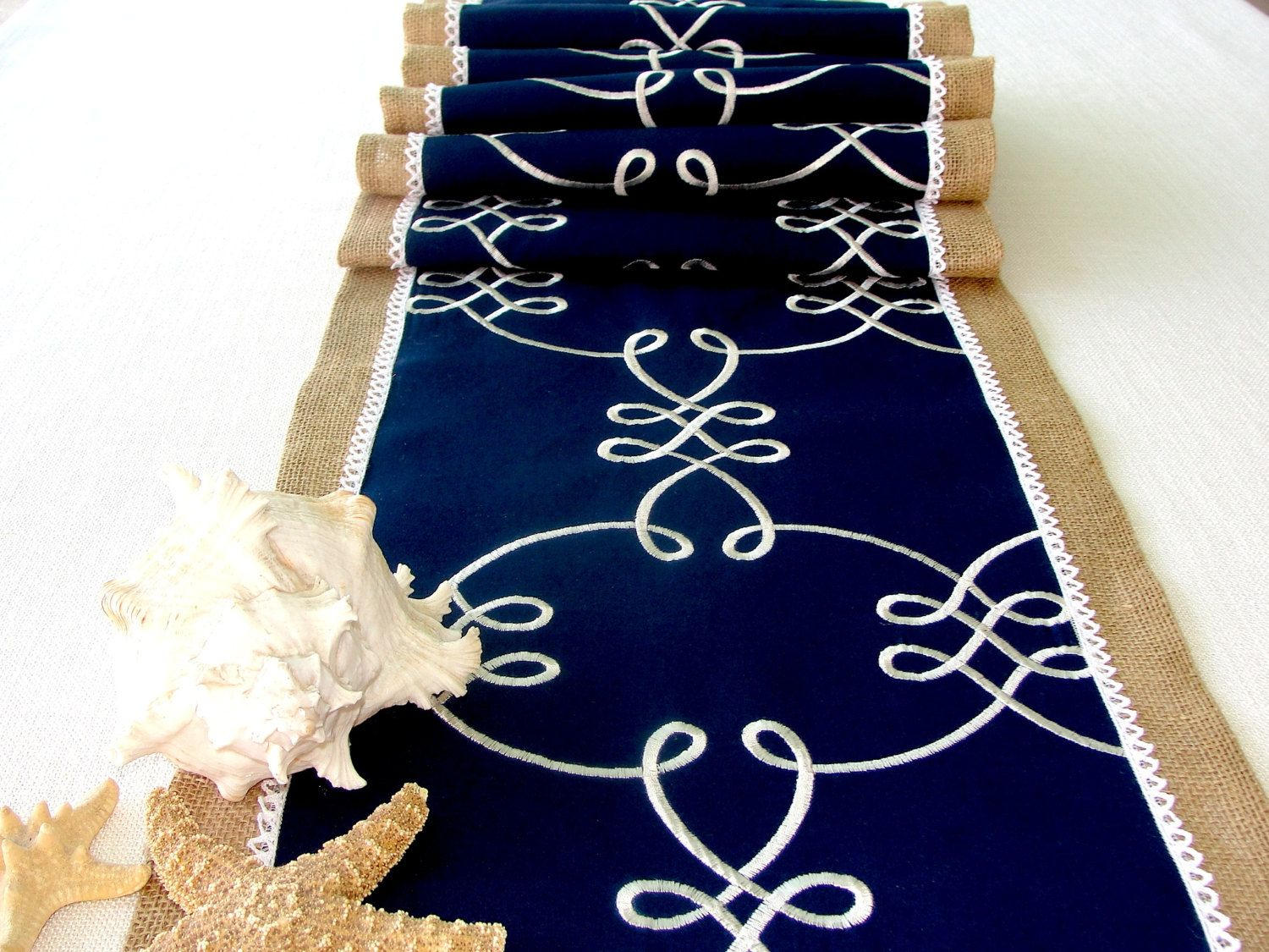 DECORATING WITH BURLAP AND LACE | Burlap And Lace Table Runner, Extra Long  Embroidered Navy