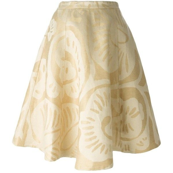 Société Anonyme flared brocade skirt (370 RON) ❤ liked on Polyvore featuring skirts, ivory, brocade skirt, brown skirt, flare skirt, ivory skirt and winter white skirt
