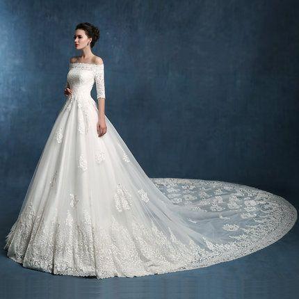 Luxury long trailing word shoulder wedding dress bridal fashion winter 2014 Korean version of the new vintage lace yards