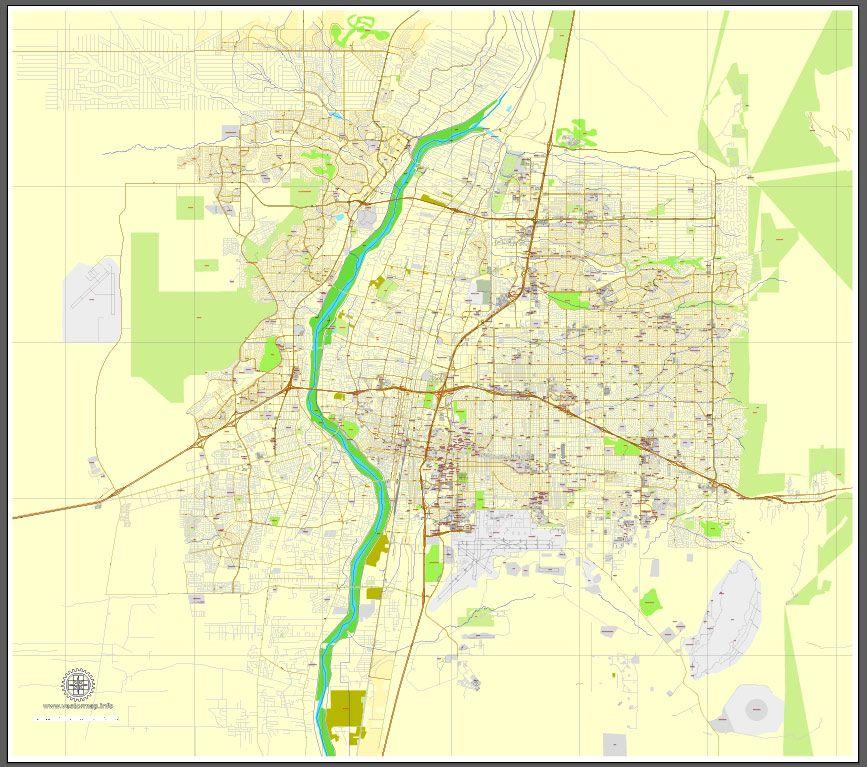Albuquerque New Mexico US exact map Printable City Plan Map