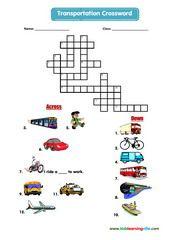 Transportation crossword | Crosswords | Pinterest