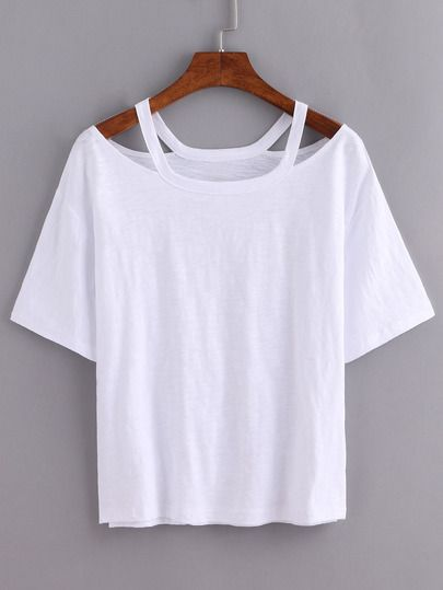Cutout Loose-Fit White T-shirt | wishlist | Pinterest | Shopping ...