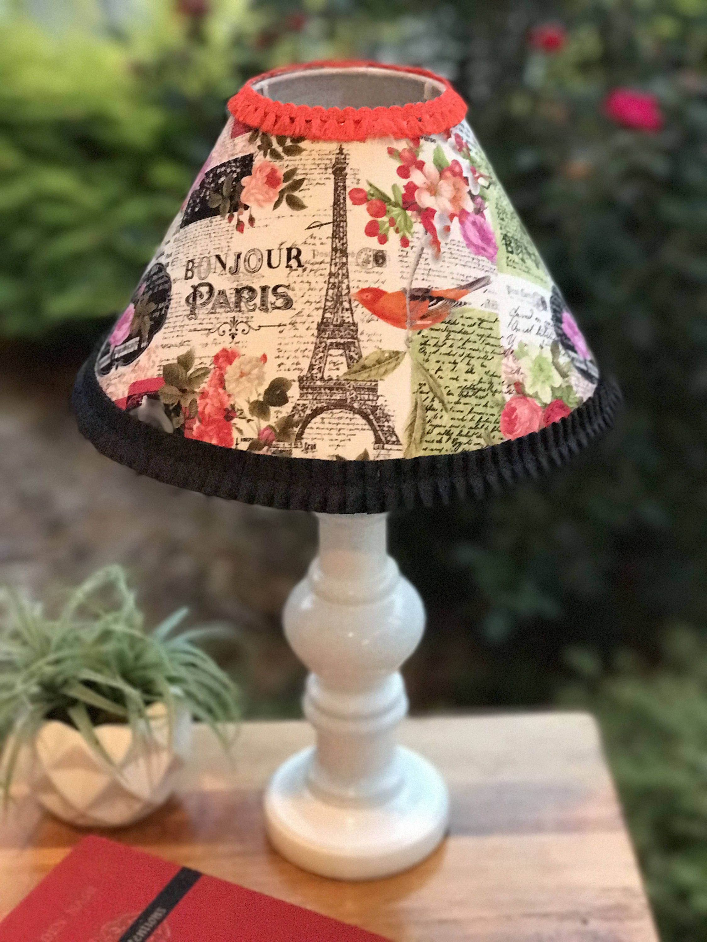 18 Tall Lamp Paris Themed Fl Colorful Pink Black And White Bird Orange Parisian S Bedroom By