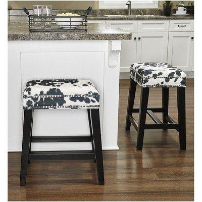 Fantastic Walt Black Cow Print Counter Stool Black White Linon Dailytribune Chair Design For Home Dailytribuneorg