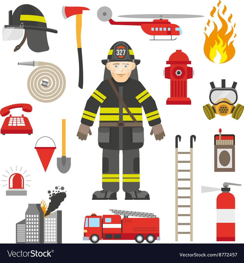 medium resolution of fireman equipment flat retro style icons collection with red pump and fire extinguisher abstract isolated vector
