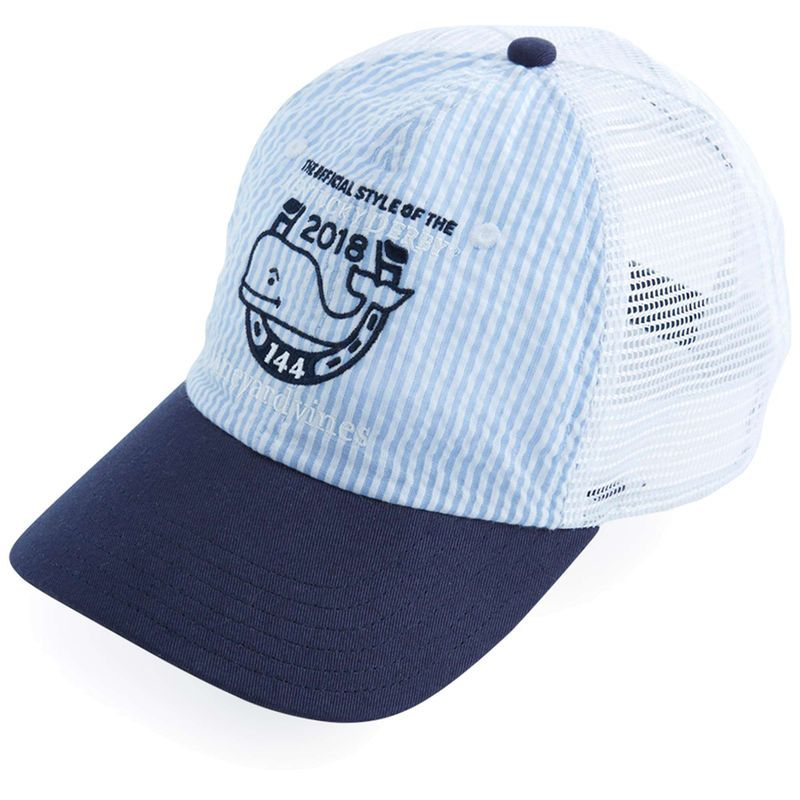 f190d263aca1b Kentucky Derby 144 Vineyard Vines Seersucker Trucker Adjustable Hat – Blue
