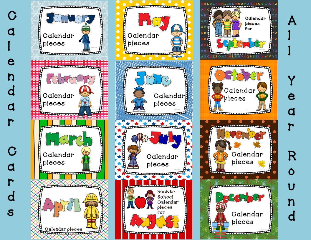 Calendar Theme Ideas For Each Month : Pocket chart or linear calendar bundle