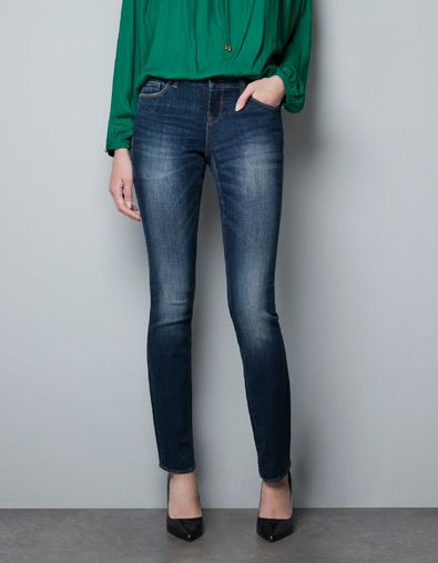 Comfy and sexy. And great dye job.   MEDIUM BLUE STRAIGHT JEANS - Jeans - Woman - ZARA Denmark