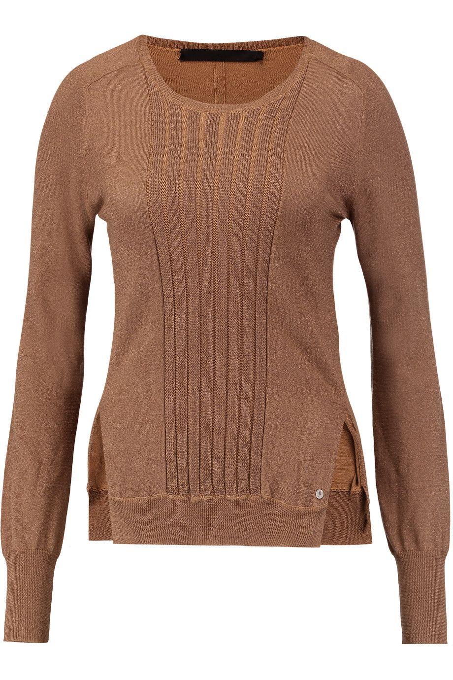 KARL LAGERFELD Macy Silk And Cotton-Blend Sweater. #karllagerfeld #cloth #sweater