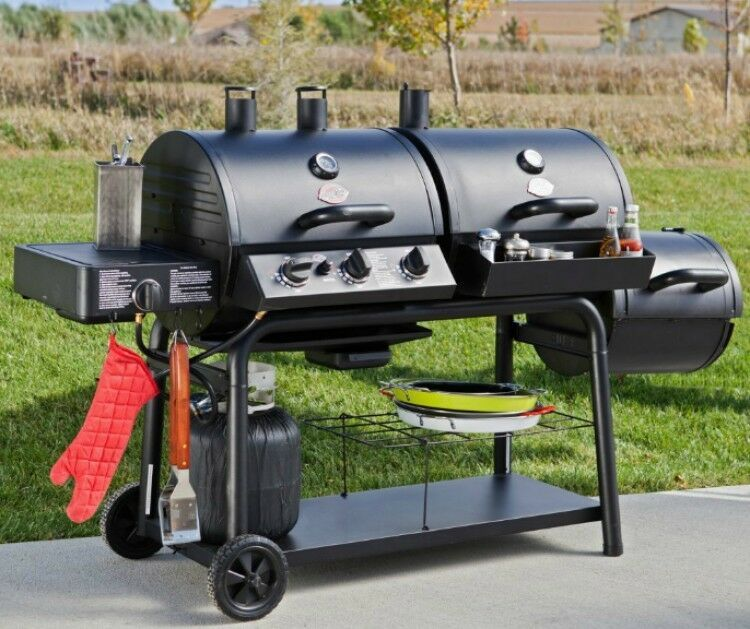 Barbecue Combination Grill Smoker Hybrid Cooker Portable Dual Fuel 36 000 Btus Generic
