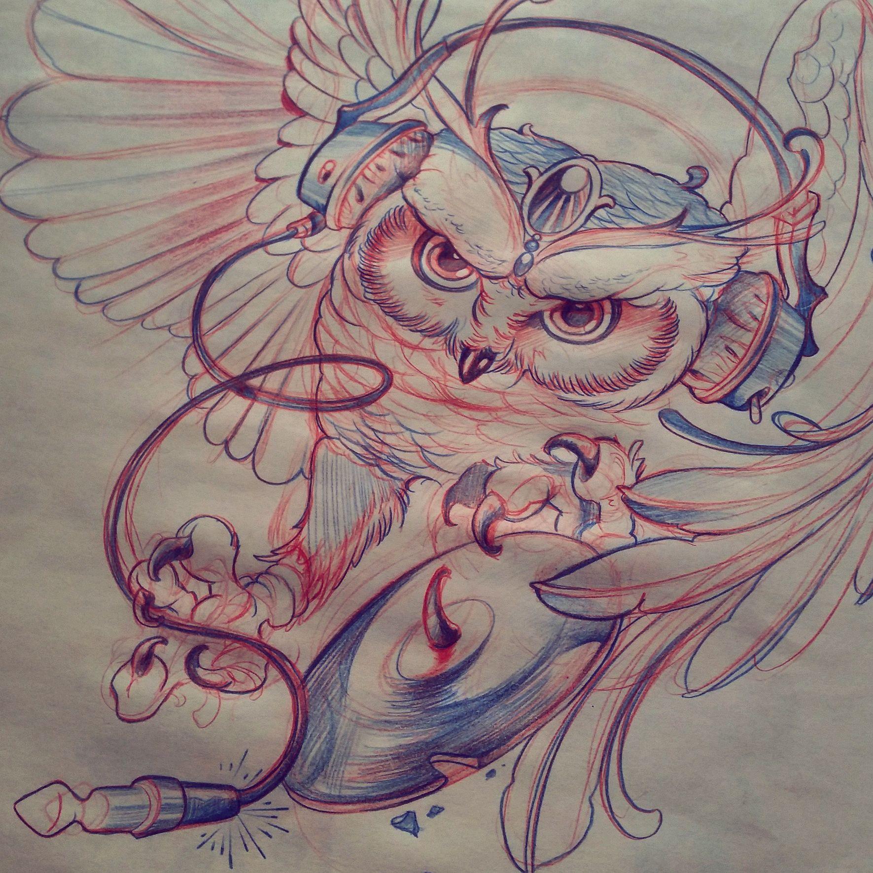 #buho #owl #plumas #dj #cascos #musica #music #dibujo #drawing #garras #claws