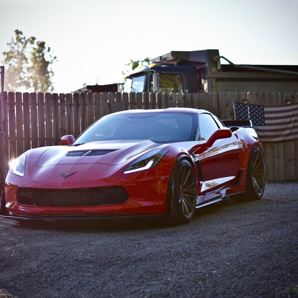 Chevrolet Corvette C7 Z06 Coupe Painted In Torch Red W Vossen Vps