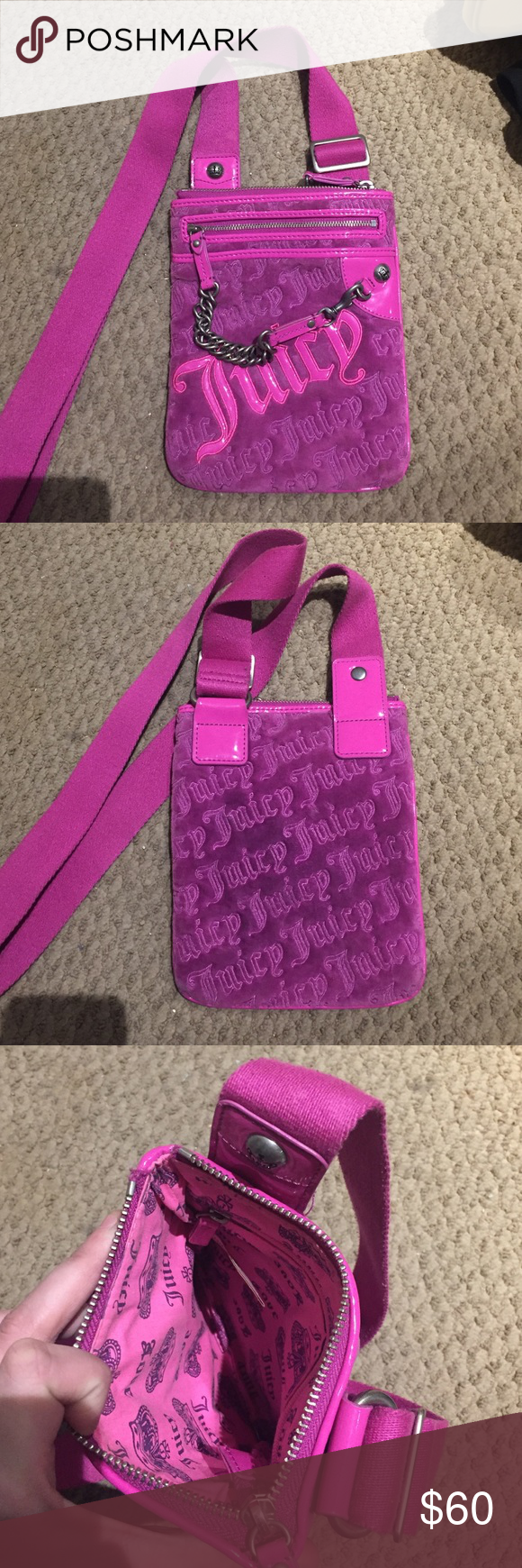 Juicy Couture Crossbody Purse This pinkish-purple purse is perfect for your wallet, phone, keys and more! With 3 additional pockets, this bag looks small but holds a lot! Inside and outside perfectly intact! Juicy Couture Bags Crossbody Bags
