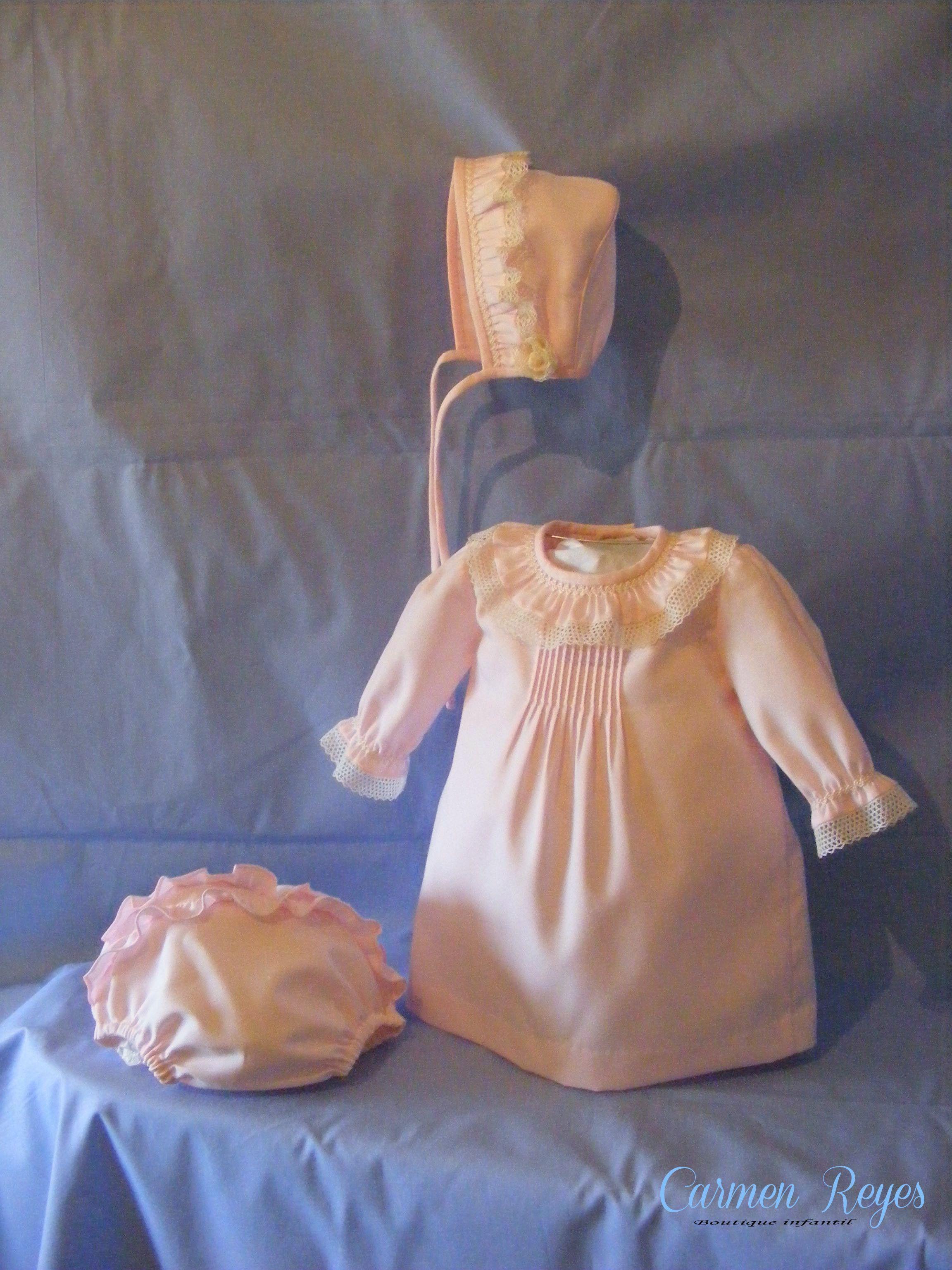 13ae827df Conjunto de vestido, braguita y gorrito de villela rosa | Vestidos ...
