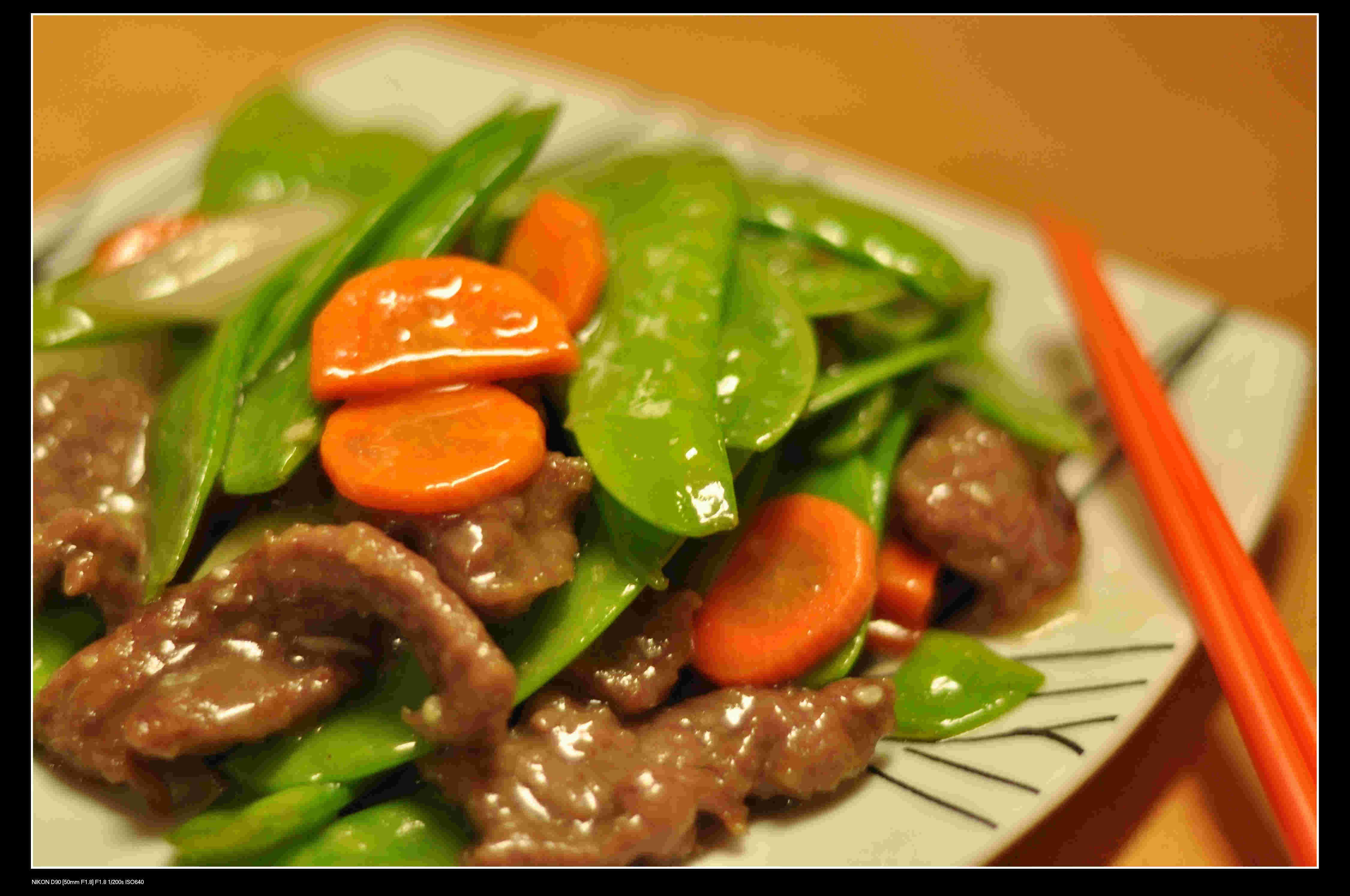 Beef, Snow peas & Carrot stir fry.