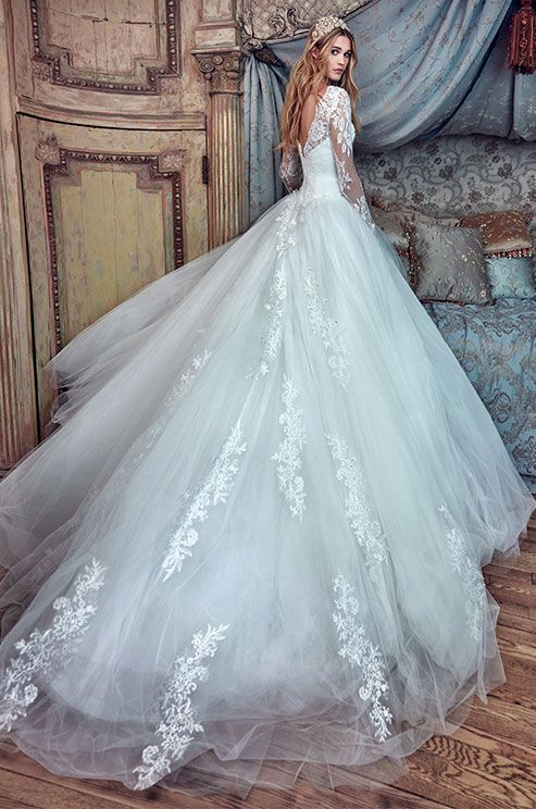 Princess ball gown with sweetheart corset, full skirt and lace long ...